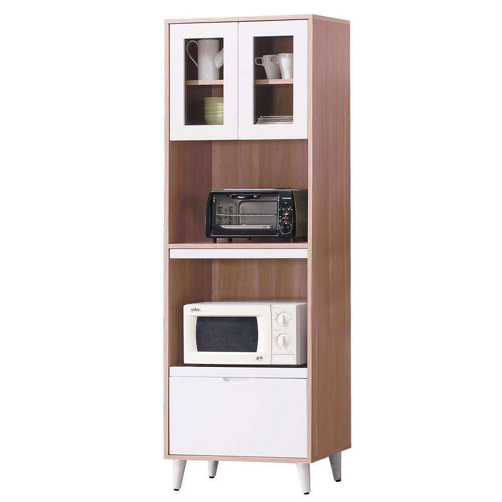 品家居 米特2尺雙色收納高餐櫃-60x40x182cm-免組