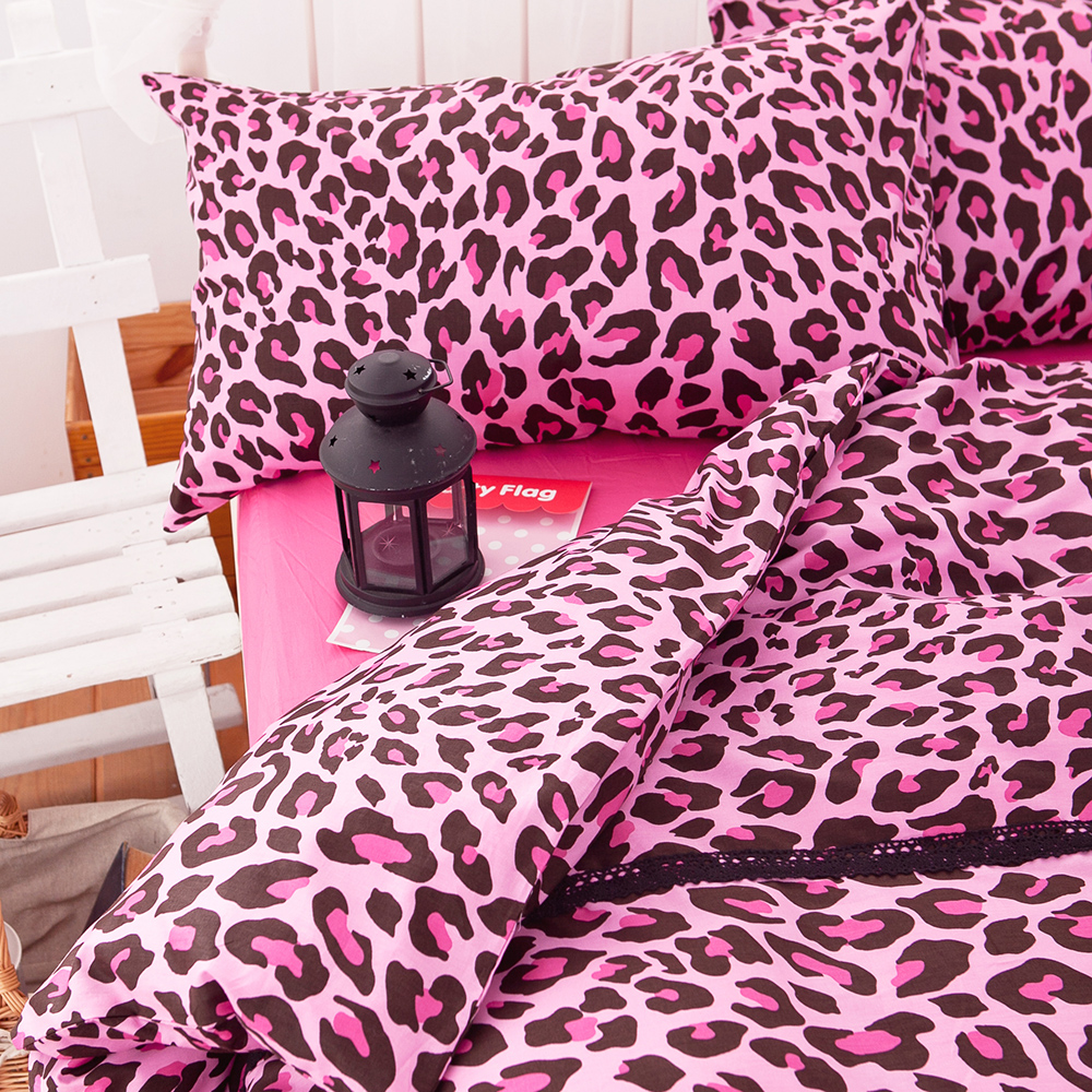 OLIVIA   狂野狂紋 桃紅  雙人四件式兩用被全舖棉床包組