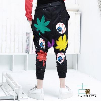 古著 大麻葉眼球厚棉口袋低檔飛鼠褲