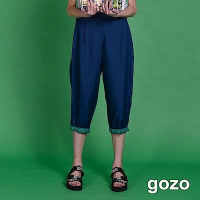 gozo 格紋反折寬版七分褲(深藍)