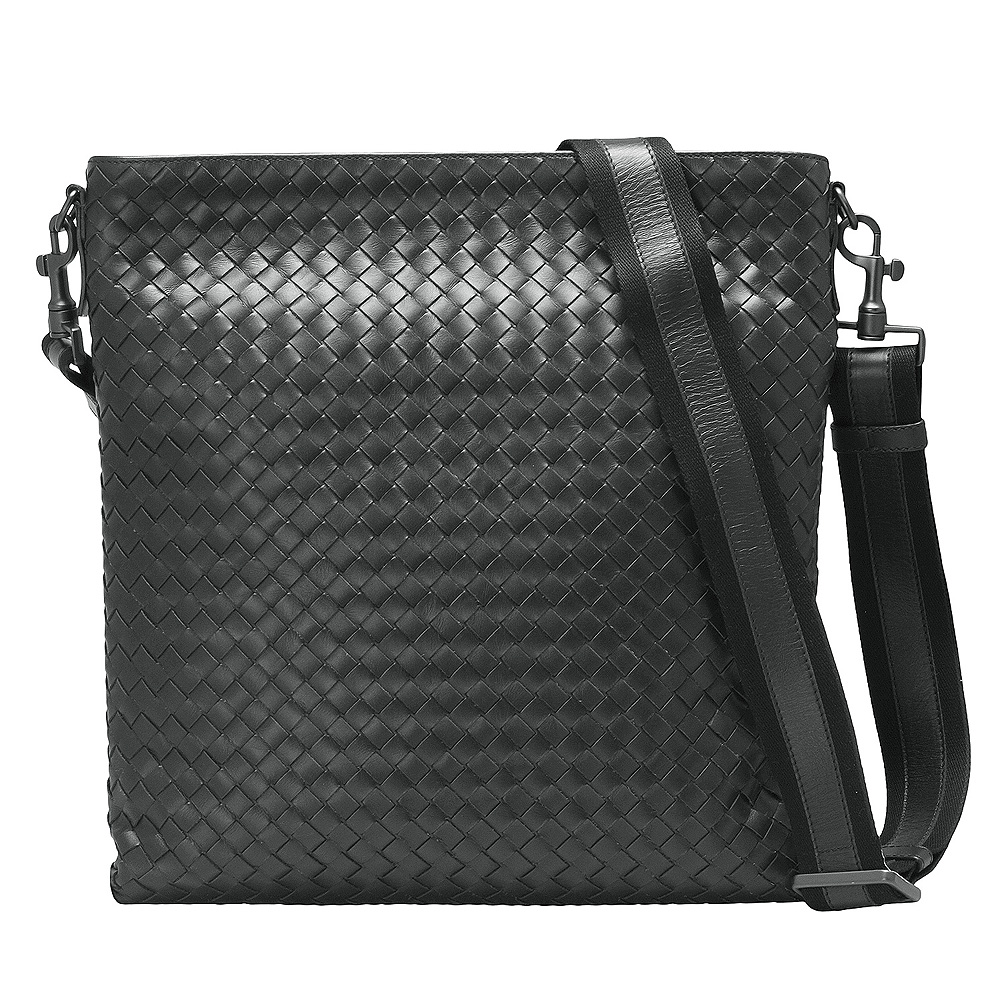 BOTTEGA VENETA 經典牛皮編織方型拉鍊斜背包(大-灰色)