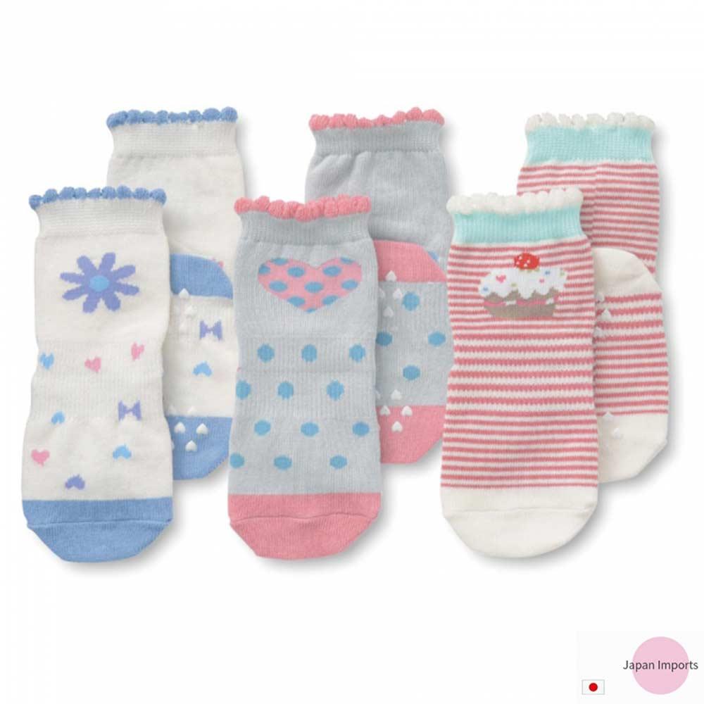 Japan Imports 蛋糕小花愛心款嬰兒止滑襪三雙入組