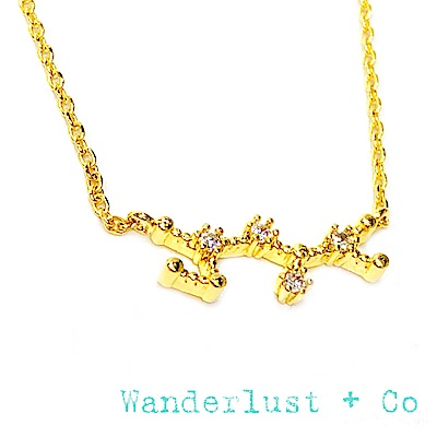 Wanderlust+Co 澳洲品牌 射手座項鍊 金色鑲鑽項鍊 SAGITTARIUS