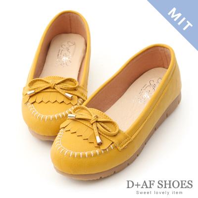 D+AF 自在漫步.MIT流蘇造型樂福健走鞋*黃