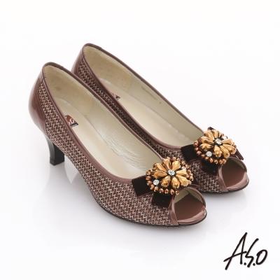 A.S.O 璀璨美型 真皮拼接花紋珠飾蝴蝶結魚口跟鞋 豆沙