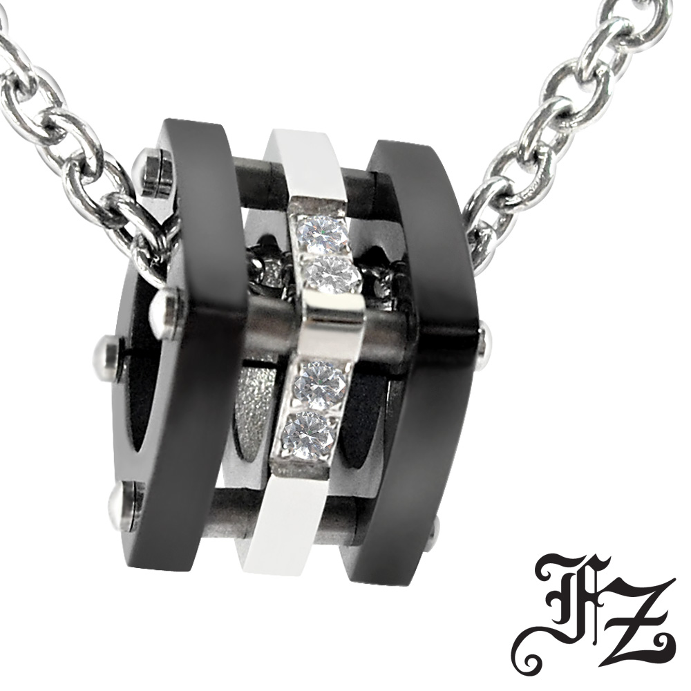 【FZ】甜蜜 深情依戀白鋼項鍊(黑)