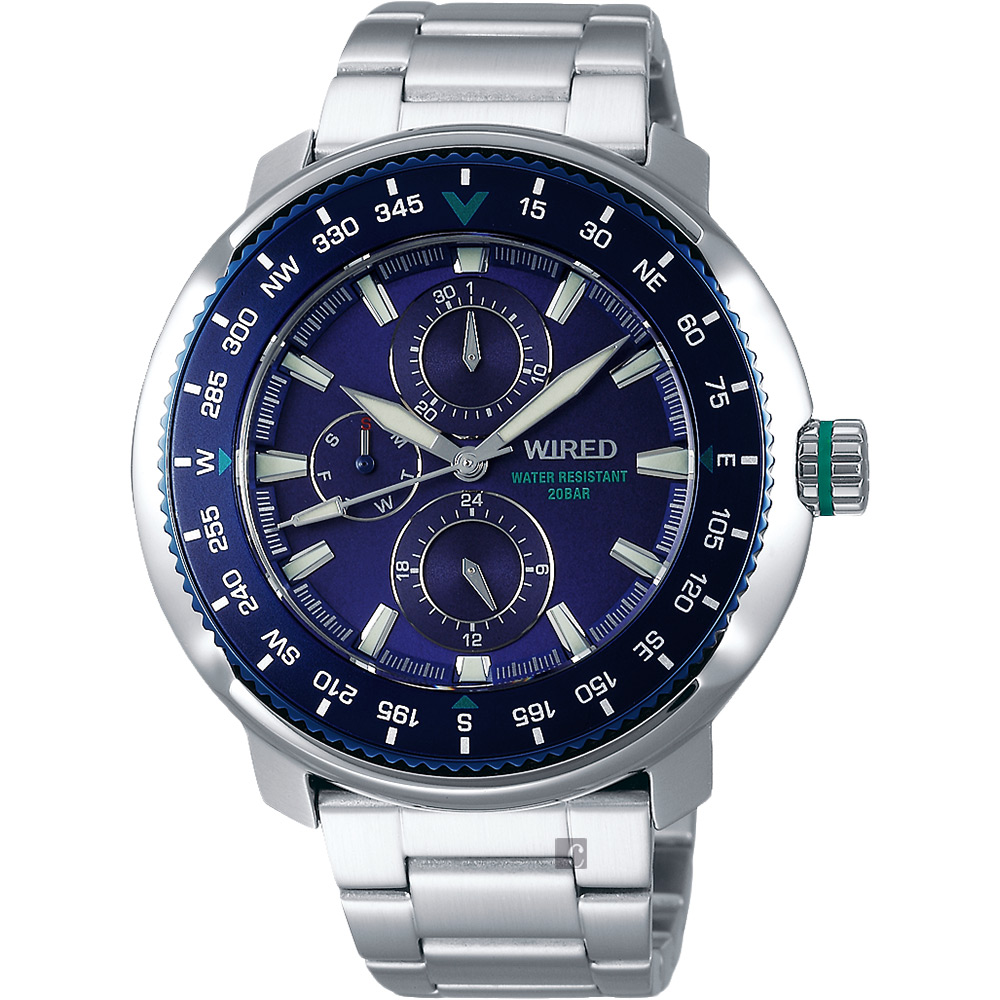 WIRED SOLIDITY 復古軍用200米日曆錶(AY8035X1)-藍x銀/44mm