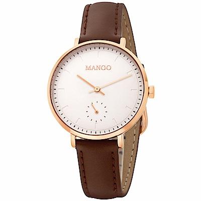 MANGO 百搭白面透明刻度手工皮革錶-咖啡/34mm