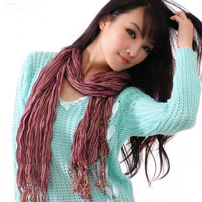 【Aimee Toff】細數條紋手皺流蘇東印圍巾(4色)