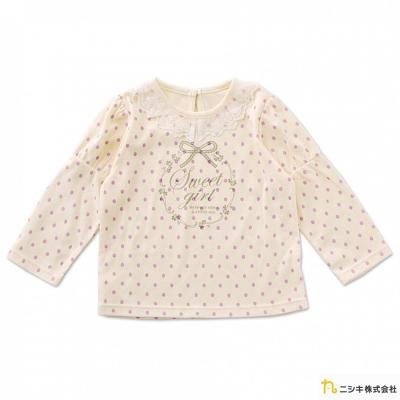Nishiki 日本株式會社 米白款點點蕾絲領長袖上衣