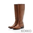 KOKKO-精品質感擦色牛皮粗跟長靴-木頭咖