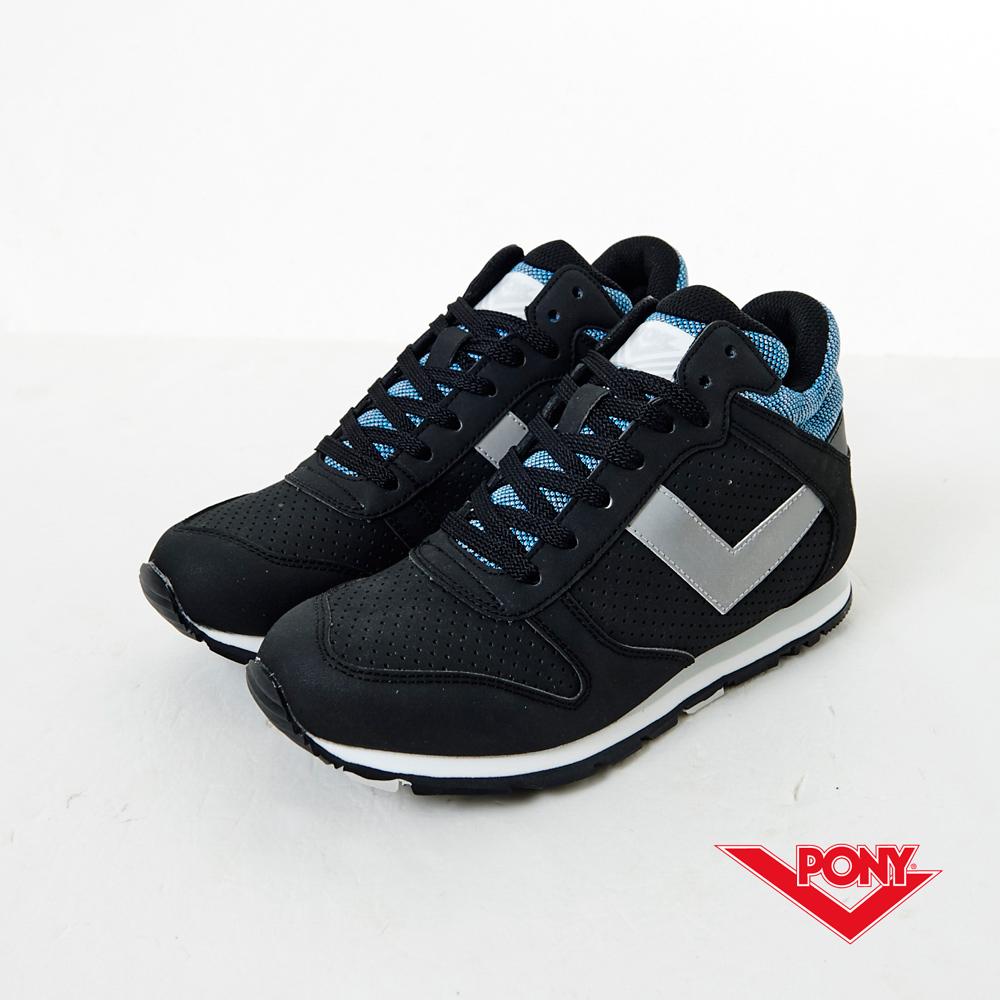PONY -SOLA-HI系列-復古增高慢跑鞋-黑(女性)