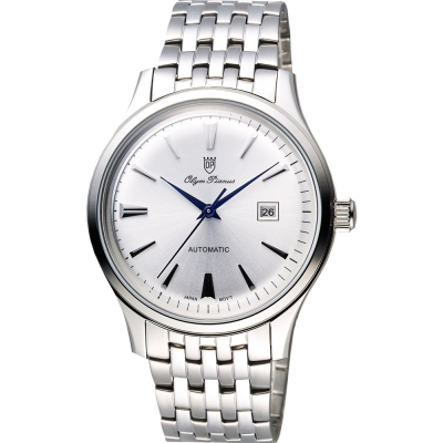 Olympianus 奧柏 尊爵復刻時尚機械腕錶-銀/39mm