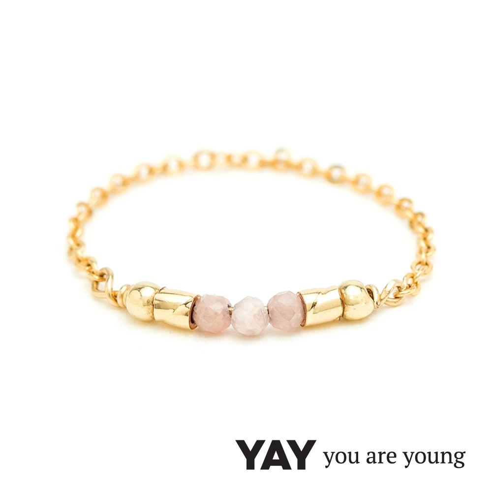 YAY You Are Young 法國品牌 Cleo 玫瑰粉玉石戒指 迷你款 金色