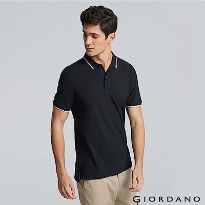 GIORDANO  男裝經典撞色立領短袖POLO衫-03 標誌黑