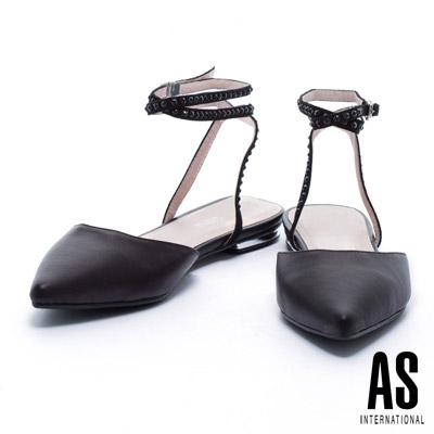 低跟鞋 AS 環繞晶鑽繫帶羊皮尖頭低跟鞋-黑