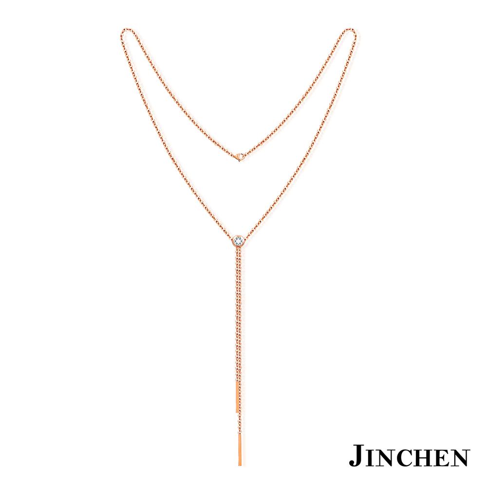 JINCHEN 白鋼單鑽流蘇長項鍊