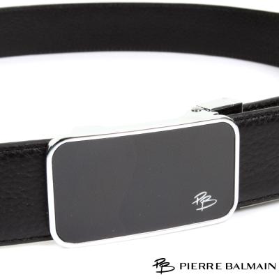 PB-皮爾帕門-經典原角簡約黑底Logo款-頭層牛皮自動扣皮帶-710