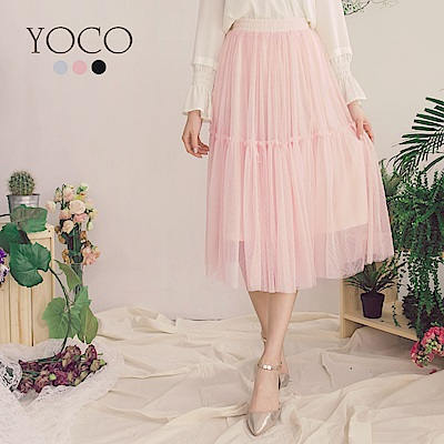 東京著衣-yoco輕柔甜氛多色優雅層次拼接網紗中長裙-XS.S.M(共三色)