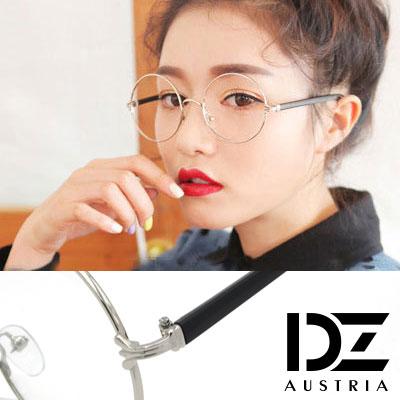 DZ 立體雕紋爪側飾 平光眼鏡(銀框黑腳系)