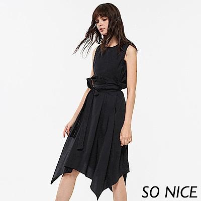 SO NICE時尚造型荷葉長洋裝