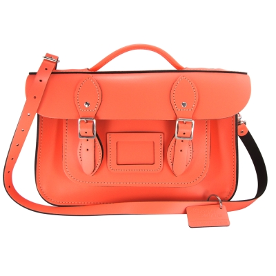 The Leather Satchel 英國手工牛皮劍橋包 肩背手提包 珊瑚紅 12.5吋