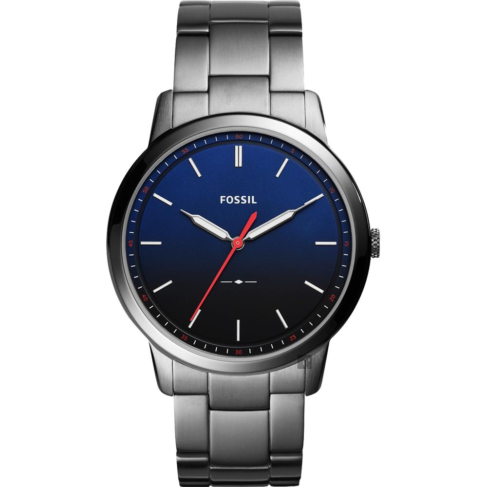 FOSSIL Minimalist 薄型簡約手錶(FS5377)-藍x鐵灰/44mm