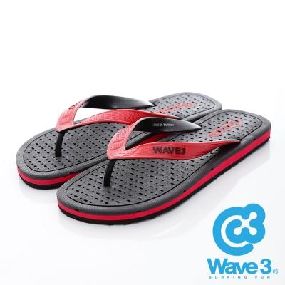 WAVE3【男】獨家設計排水透氣人字夾腳拖鞋~黑紅