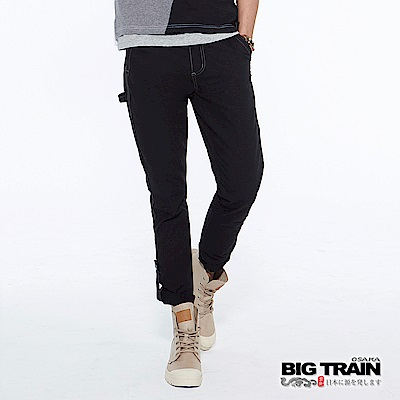BIG TRAIN 日系街頭車標捲口<b>9</b>分褲-男-黑色