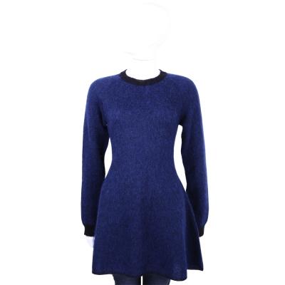 Max Mara-SPORTMAX 藍色滾邊設計馬海毛長袖洋裝