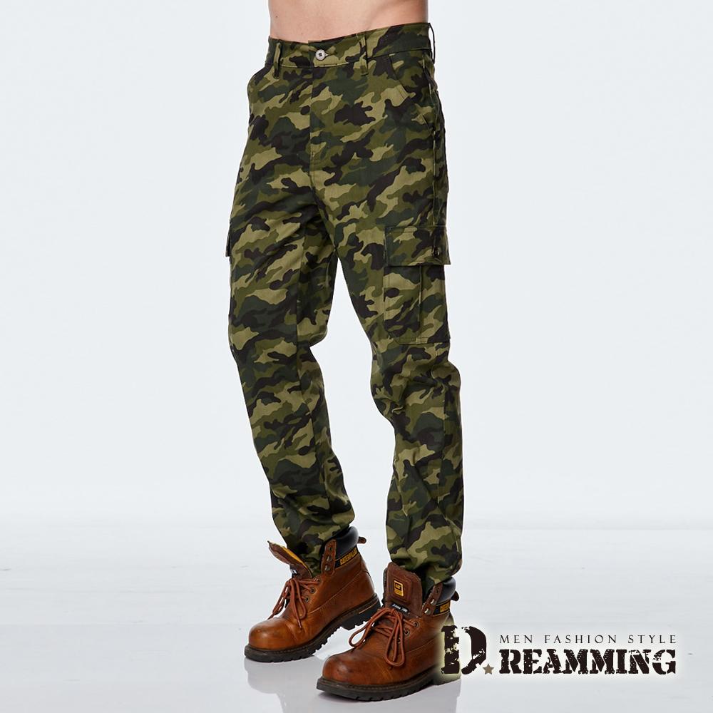 Dreamming 軍規迷彩多口袋休閒工作長褲-綠色