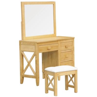 居家生活 布魯尼3.3尺北歐本色鏡台[含椅]