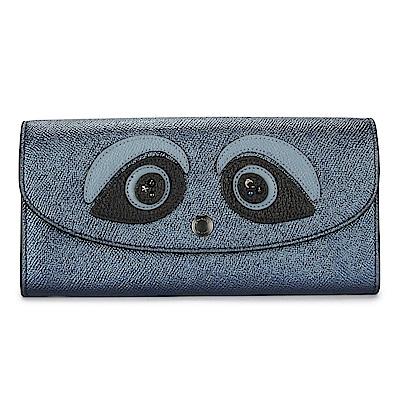 COACH 熊貓立體拼貼素面金屬防刮皮革壓釦長夾-深藍色