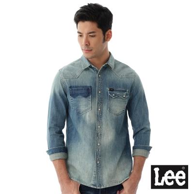 Lee 牛仔長袖百搭刷白Vintage Laundry 襯衫 男款-淺藍