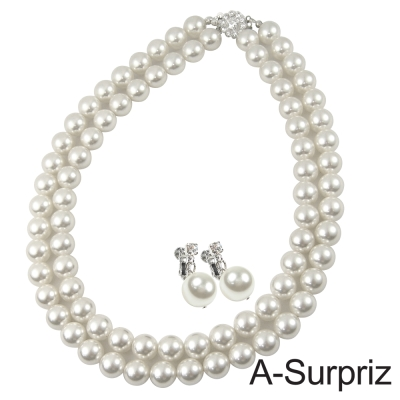 A-Surpriz 10mm南洋貝珍珠雙排項鍊套組(單扣頭)