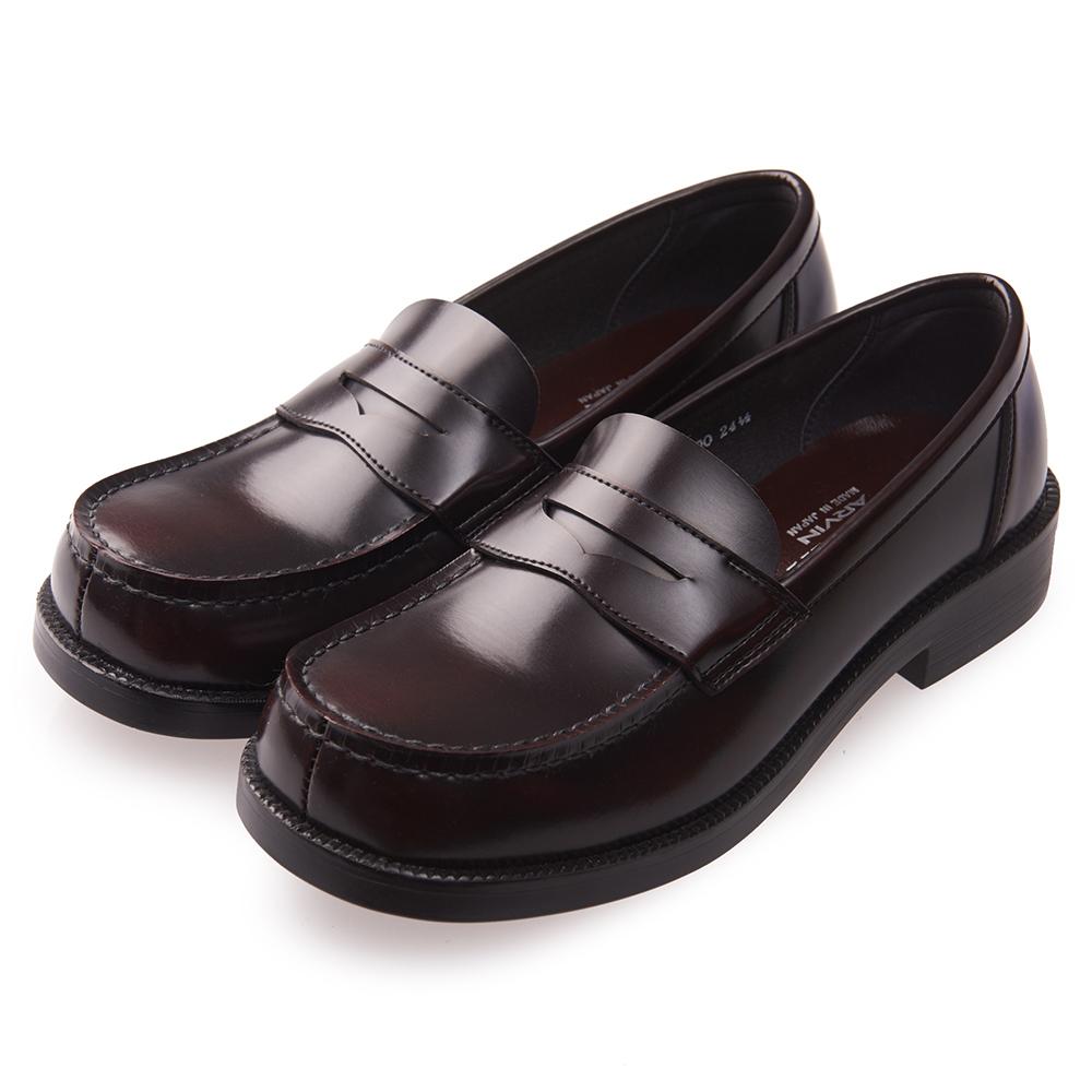 (女)日本 HARUTA 經典平底方頭皮鞋-咖啡色