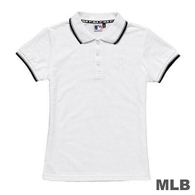 MLB-紐約洋基隊LOGO繡花POLO衫-白 (女)