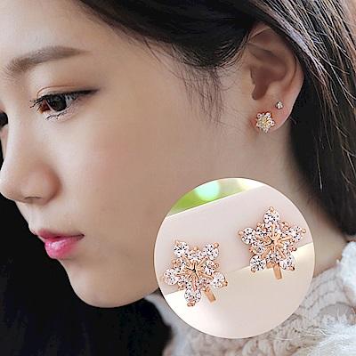 梨花HaNA 無耳洞韓國雪花似柔剔透水晶耳環夾式玫瑰金