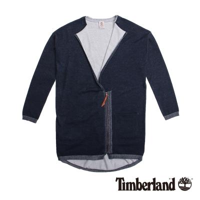 Timberland 女款深藍色不對襯拉鍊棉質罩衫