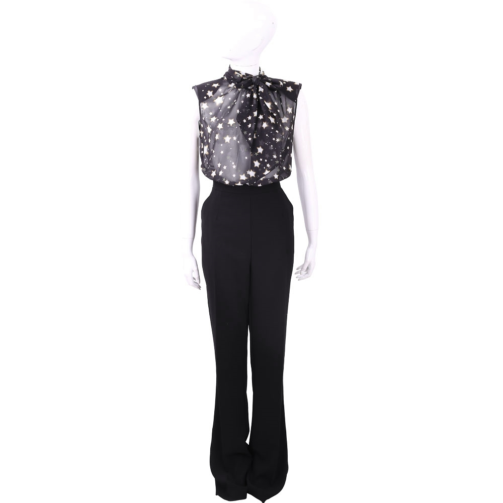 ELISABETTA FRANCHI 星星印花黑色雪紡拼接可拆式連身褲