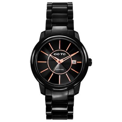 GOTO 時尚冒險輕薄都會腕錶-黑x玫瑰金/40mm