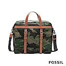FOSSIL HASKELL 商旅真皮活動包-焦糖啡色/迷彩帆布