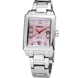 Audrey 歐德利 都會佳人 珍珠貝晶鑽女錶(AUB5658)-粉x紅時標/25mm