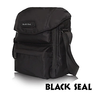 BLACK SEAL 經典休旅系列 多隔層收納休閒直式斜背/側背包-經典黑 BS83495