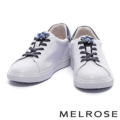 休閒鞋 MELROSE 奢華手縫鑽花蛇紋拼接牛皮綁帶厚底休閒鞋-藍