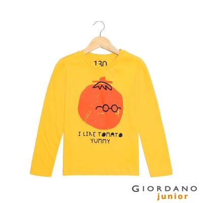 GIORDANO 童裝 趣味印花純棉長袖T恤- 01 水仙花黃