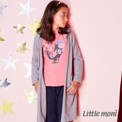 Little moni 氣質素面長版針織外套 (共3色)