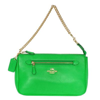 COACH青綠色荔枝紋全皮金屬鍊帶手提掛-肩背小包