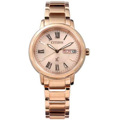 CITIZEN XC 光動能亞洲限定款日期星期不鏽鋼手錶 -玫瑰金色/32mm