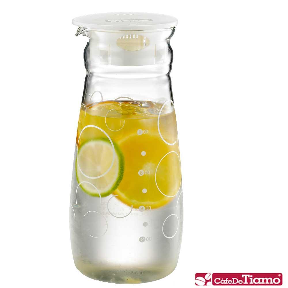 Tiamo 幾何圖案玻璃水壺 1.0L-白色款(HG2284)